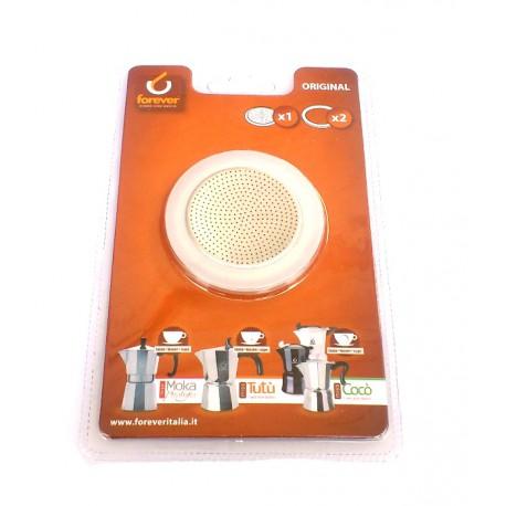 Ricambio Moka Forewer (anche per Bialetti) 2 Guarnizioni silicone + filtro 1 TZ.